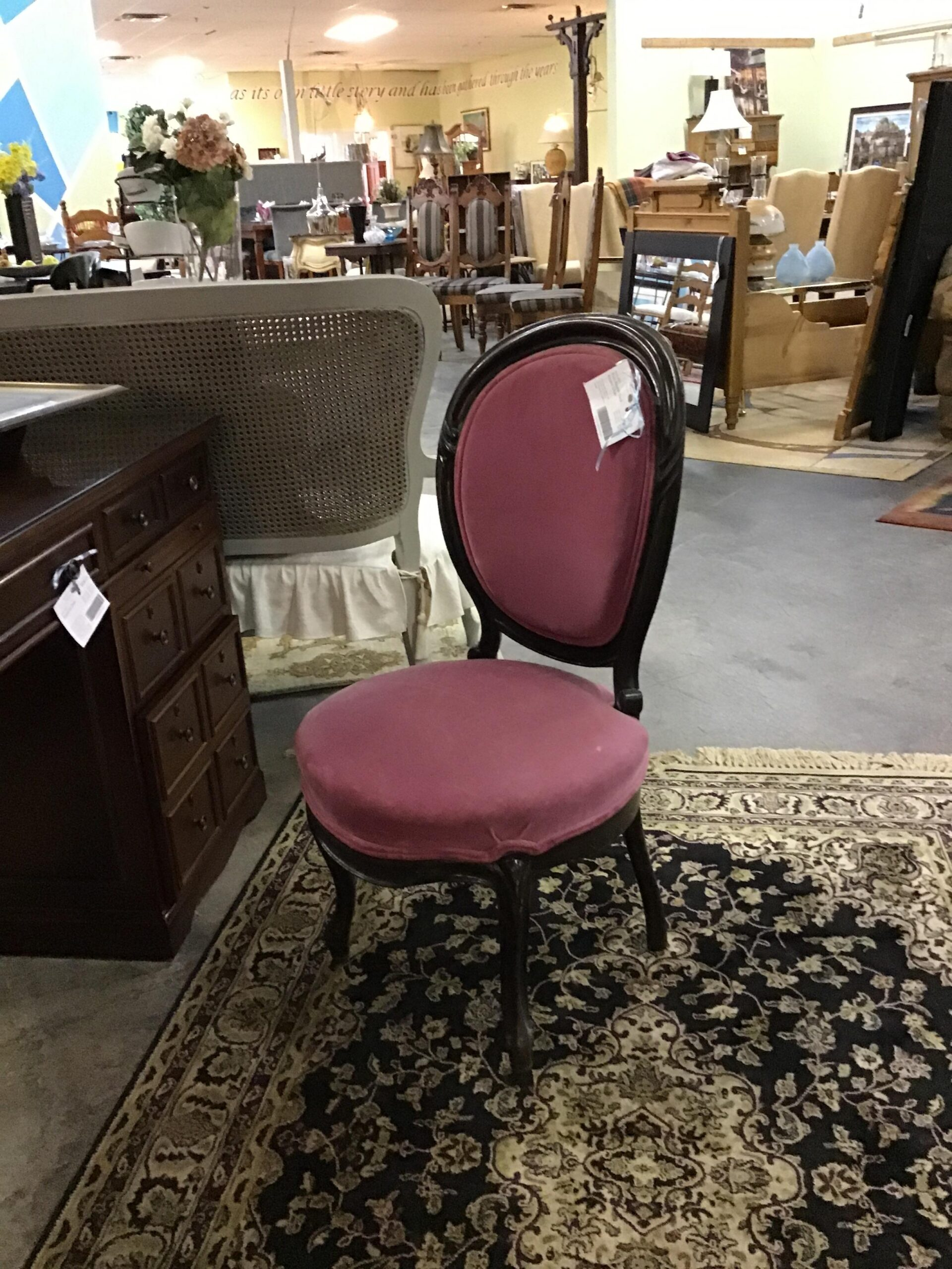 Pink Round-Back Accent Chair